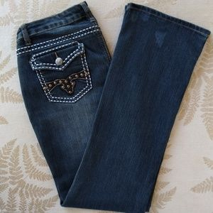 EARL JEANS BOOT-CUT BUTTON POCKETS STUDS & LEATHER